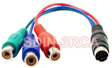 Mini DIN 7-Pin to 3-RCA RGB Component Adapter