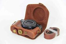 Band Camera Bag Retro Leather Case Pouch for Canon Powershot G7 X Mark II Coffee