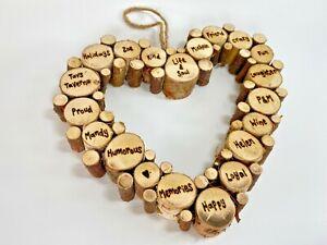 Personalised Birch Wood Slice Hanging Heart   Anniversary Wedding Birthday Gift