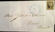 Us stamps 19th century used EAS scott #2 on folded letter with paid blue cancel