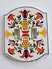 Vtg NORDIC SWEDISH TULIP DOUBLE LIGHT SWITCH PLATE COVER Metal Country Festival