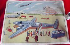 Ancienne Affiche scolaire MDI.Air France Avion Trains Voyageurs Citroën Tube HY