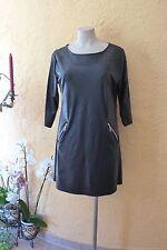 Magna túnica vestido arte óptica piel 40 42 nuevo negro Stretch Lagenlook Edel °°°