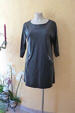 MAGNA TUNIKA Kleid Kunstlederoptik 44 46 NEU schwarz Stretch LAGENLOOK EDEL°°°
