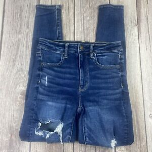 AE AMERICAN EAGLE OUTFITTERS WOMENS DISTRESSED SUPER HIGH RISE JEGGING SIZE 2