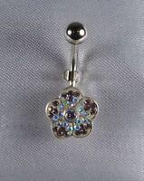 Piercing de nombril Fleur Crystal Blanc irisée montés sur argent tige 316l