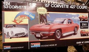 Vintage Monogram 1988 Kit '67 Corvette 1/12 + Bonus '53 Vette 1/24 Bonus Pack