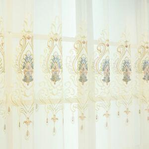 Modern Velvet Curtain Panel Blackout Embroidery Sheer Tulle Window Drapery Trims