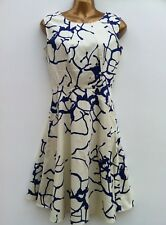 CLOSET LONDON Cream & Blue Dress Size 6 - Cotton with Stretch WORN ONCE
