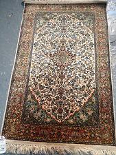 oriental persian carpet rug 100% handknotted silk Kashmir 126x0.80cm