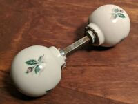 Antique Round White Door Knob Set Porcelain Ceramic with Flower Design Vintage