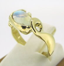 1.00 ct Moon Stone 14k Yellow Gold Fancy Ring Size 4.5
