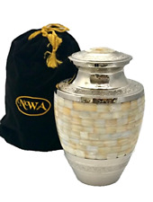 Adult Size Mother of Pearl Cremation Urns Human Urn Funeral Ash Container w/ Bag