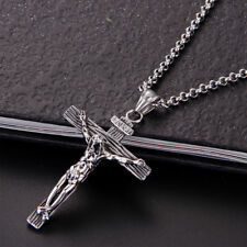 Mens Women Chain Necklace Cross Stainless Steel Pendant Crucifix Jesus CH