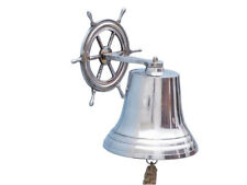 "Chrome Plated Solid Aluminum Bell 11"" w/ Ship's Wheel Bracket Hanging Decor New"