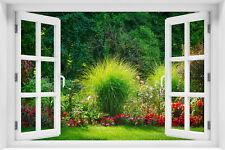 Wandillusion Wandbild FOTOTAPETE Fensterblick Natur Blumen  PVC/VLIES - kr-120