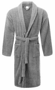 Grey Luxury 100% Cotton Bath Robe Terry Towel Soft Dressing Gown Unisex