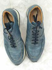 Mens Blue crocodile on Leather Shoes. Carlos Santos. Size 8
