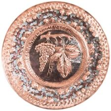 Huge Decorative Plate Copper Embossed Hand with Grape 1 M Diamet