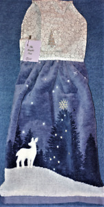 "**NEW** Handmade ""White Deer In The Moonlite"" Hanging Kitchen Hand Towel #2590"