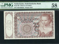 Netherlands:P-60,25 Gulden,1943 * Young Girl * PMG AU 58 *