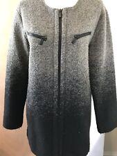 Line Women's Sweater SZ Medium Gray Ombré Wool Blend Long Sleeve ZIP Up Bin-A
