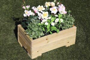 Wooden Decking Trough Planter Veg Bed Flower Plant Pots 50x32x23 (cm) Plain Wood
