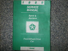 1989 DODGE SPIRIT PLYMOUTH ACCLAIM Service Repair Shop Manual FACTORY OEM BOOK