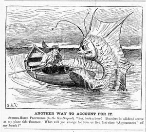 SEA SERPENT HOTEL PROPRIETOR IN ROWBOAT PAY FOR VISIT A. B. FROST