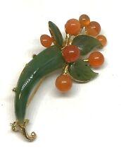 Vintage Custom Swoboda Gold Plate Sterling Silver Orange & Green Jade Brooch