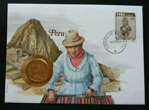 [SJ] Peru Craft Arts Culture 1995 Homemade FDC (coin cover)