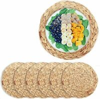 6PCS Woven Placemats Large Natural Water Hyacinth Weave Braided Rattan Tablemats