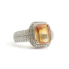 Vintage Orange Yellow Topaz Diamond Halo Ring 18K White Gold, 3.07 CTW, 7.18 Gr