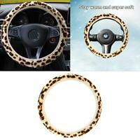 Universal Leopard Print Soft Plush Elastic Car Steering Wheel Cover New