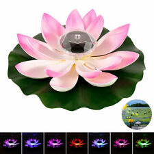 Xmas Floating Light Solar LED Optic Fibre Lotus Flower Lily Pond Landscape Lamp