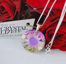 STERLING SILVER CHAIN NECKLACE WITH SWAROVSKI CRYSTALS SUN VITRAIL LIGHT FROSTED