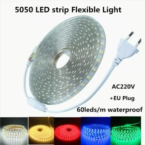 220V Led Strip Cuttable Light 5050 SMD 60Leds/M Flexible Led Ribbon Tape EU Plug