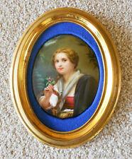 Porzellanbild Bildplatte Lupenmalerei Mädchen mit Blumen Veilchen Rahmen