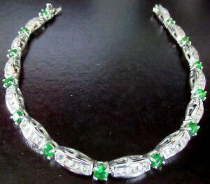Long Sterling Silver Green & Ice CZ Tennis Bracelet