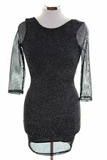 Topshop Womens Fishnet Dress Small Black Polyester