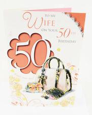 Happy 50th Birthday Wife Greeting Card & Envelope Seal Milestone Luxury