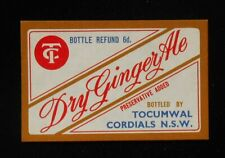 1950s Bottle Label Dry Ginger Ale Tocumwal Cordials Tocumwal NSW Australia