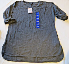 Nautica L womens ladies V Neck Roll Tab TEE t shirt Charcoal Heather 975291 NWT#