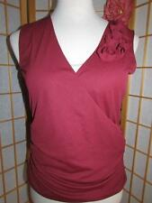 Womens AK Anne Klein Burgundy Criss Cross V Neck Sleeveless Blouse Top 1X