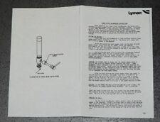 Lyman AccuMeasure Instructions & Rotor Chart