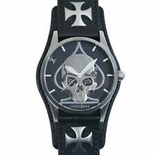 Skull & Spade Watch Stainless Steel Case w. Black Leather Cuff & Strap Controse