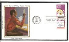 US SC #  1805 Letter writing week FDC . Colorano Silk Cachet
