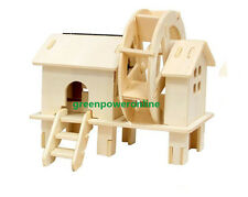 Solar Energy DIY Kit Brick Block Wood Windmill Child Educational Puzzle Toy W150
