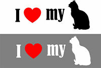 I Love My Cat Black or White vinyl sticker with red heart for your car window