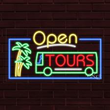 "New ""Open Tours"" Bus Tours w/Border 37x20X1 Inch Led Flex Indoor Sign 35587"